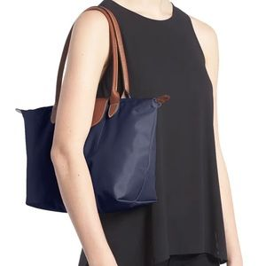 "Longchamp Le Pliage Nylon Shoulder Tote ""New Navy"""